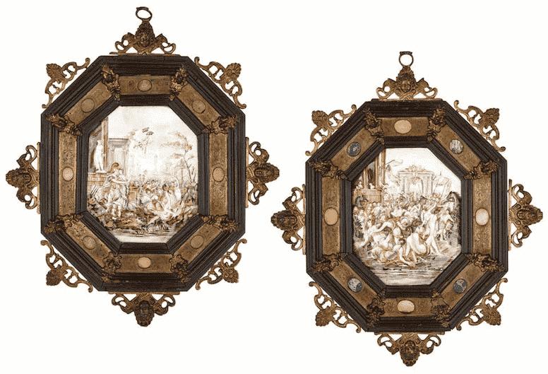 Pair of Italian Capodimonte painted porcelain plaques, 19th century