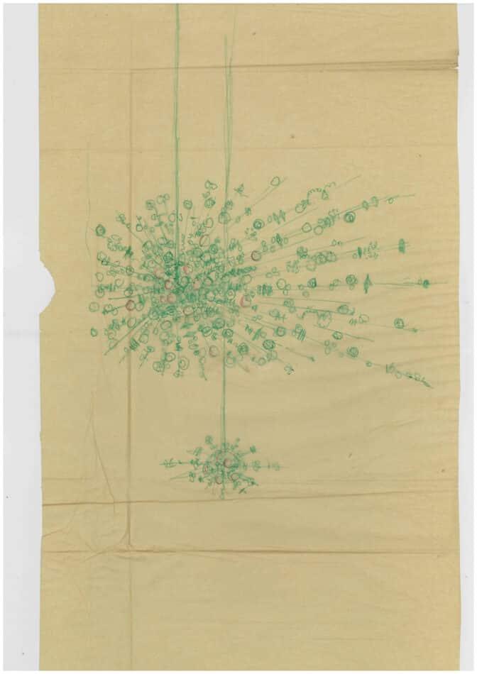 Rath's sketch of the chandelier