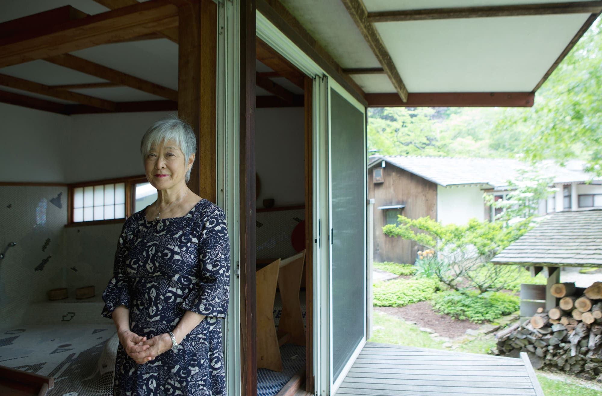 Mira Nakashima outside of her house in New Hope, PA.