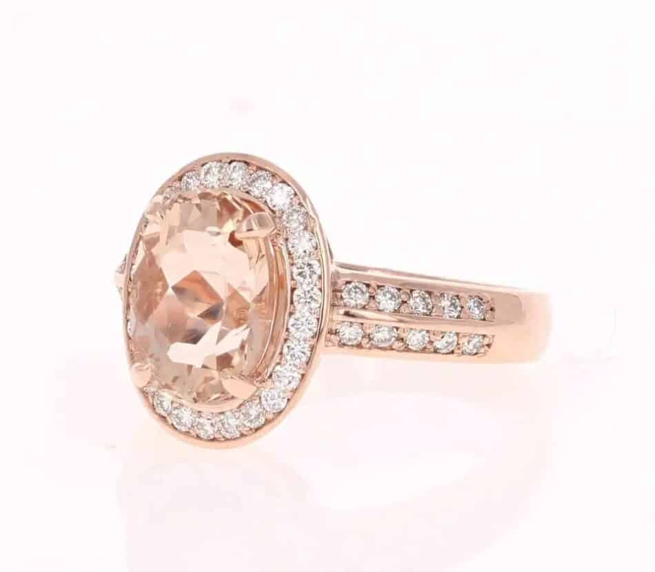 Morganite and diamond ring, 2017, offered by Roshe Jewels