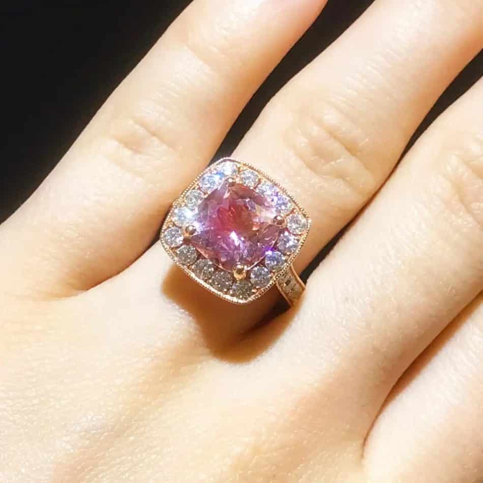 Morganite and diamond ring, 2020, offered by Five Star Jewelry