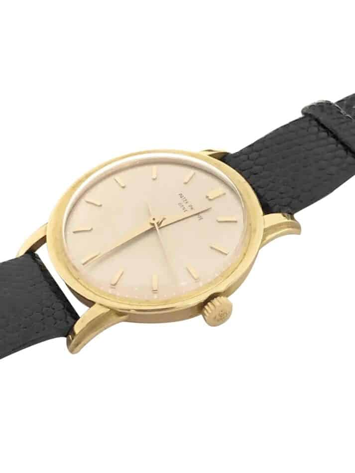 The face of a Patek Philippe 1950s Yellow Gold oversize Manual wind Wristwatch