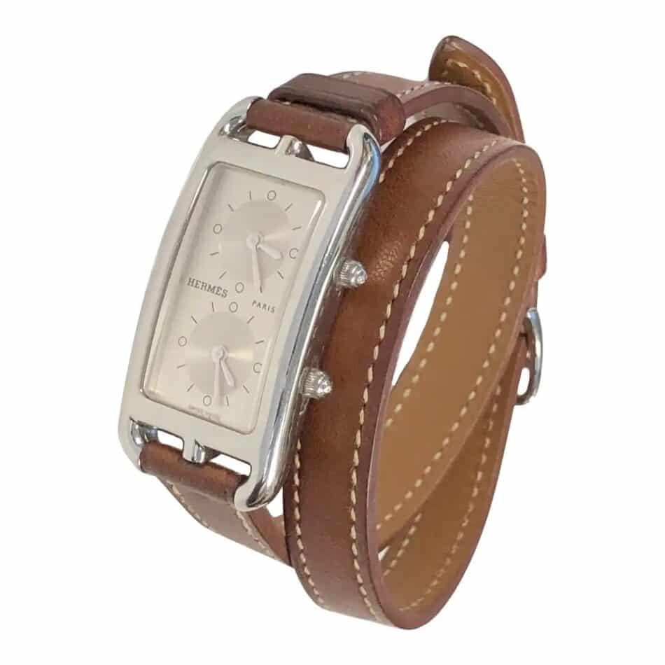 Hermès Cape Cod Dual Time Zone steel quartz wristwatch, 2018, offered by N. Green and Sons