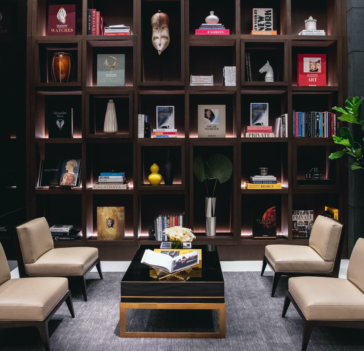 The library at 277 5th Avenue, a luxury condominium in Manhattan, designed by Alex Assouline