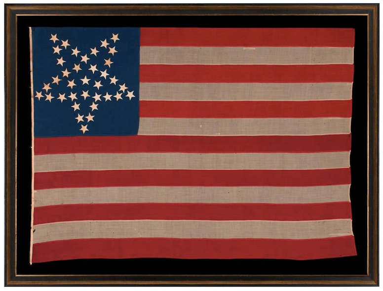 """36-Star Flag, Nevada Statehood, with """"Great Star"""" Pattern, 1864–67"""