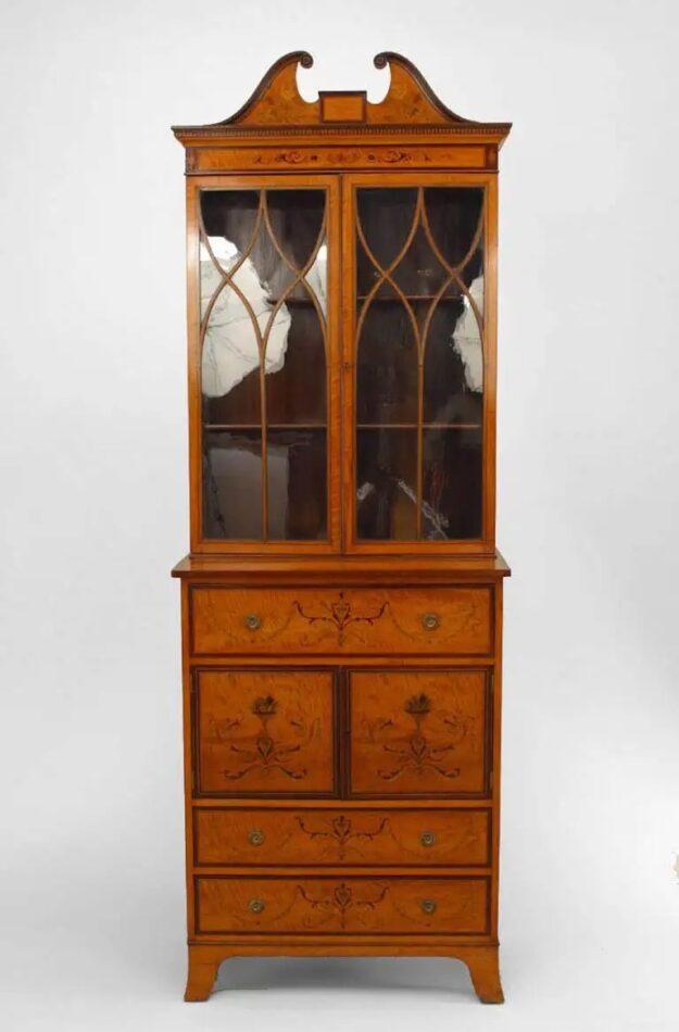 English Sheraton-style satinwood secretary, 19th century