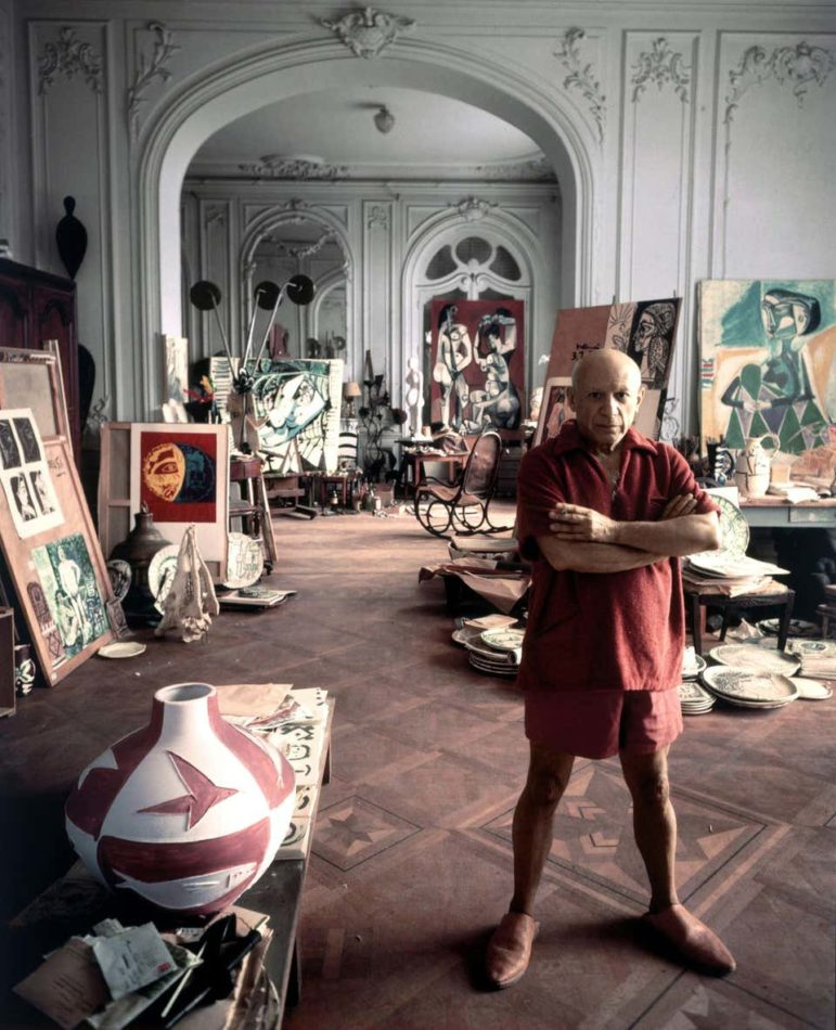 Picasso in his Studio, Cannes, 1956, by Arnold Newman