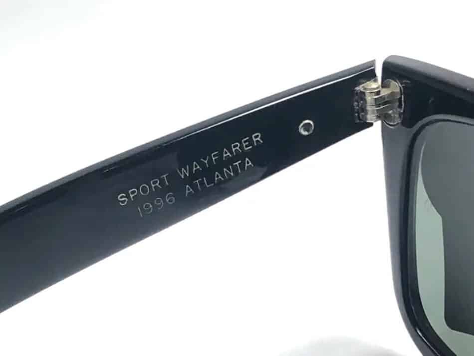 The style name printed on the left temple of Wayfarer sunglasses commemorating the 1996 Olympic Games, offered by Nightwings