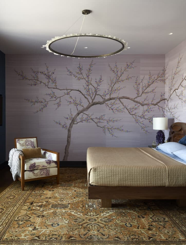 New York City bedroom with Japanese-inspired wallpaper. Room by Elena Frampton