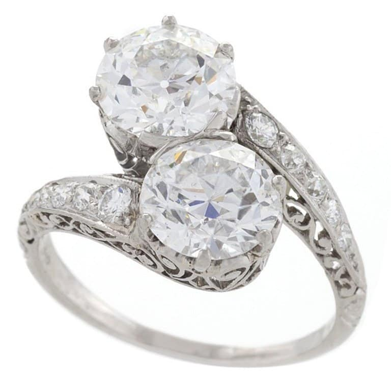 Early Art Deco diamond and platinum crossover ring, ca. 1915