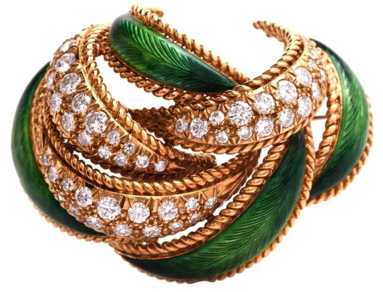 French Enamel Diamond Gold Lapel Brooch