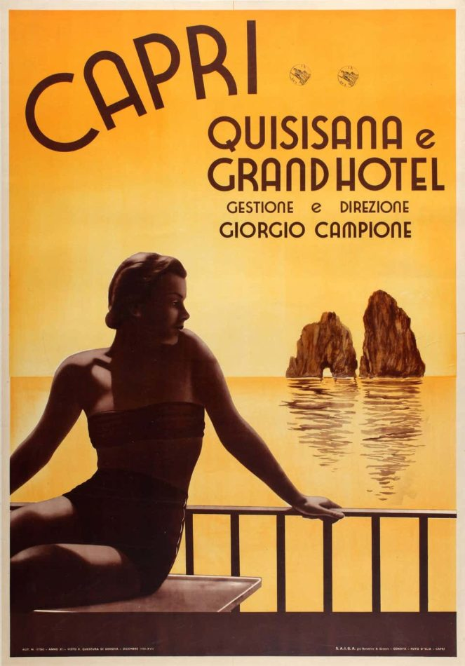 Poster ad for Capri's Grand Hotel Quisisana, 1938