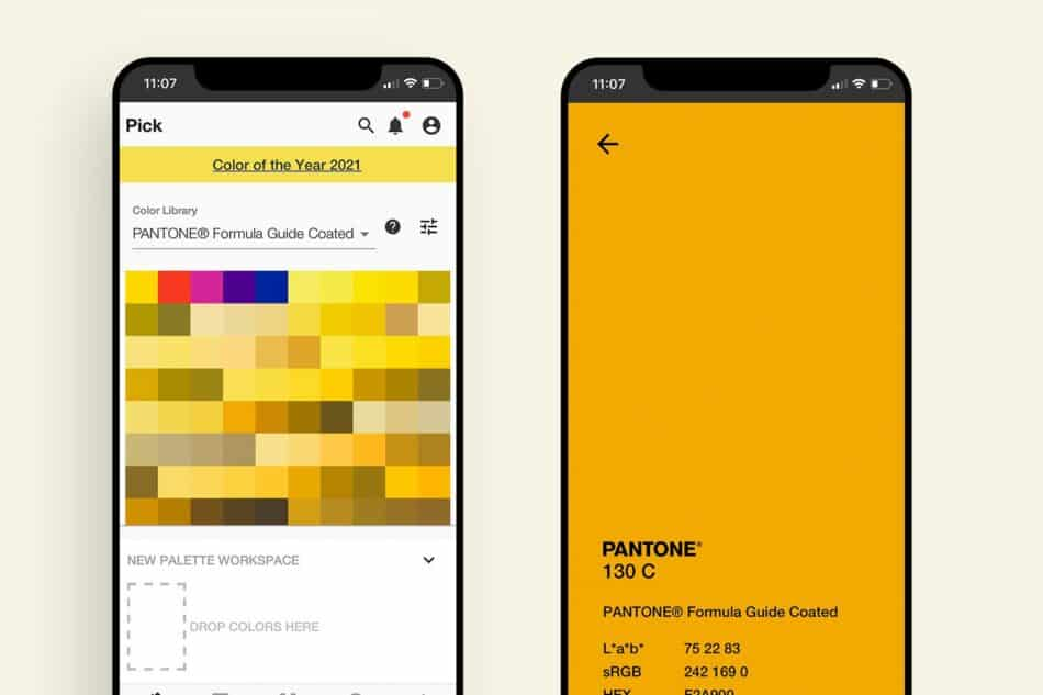 Two phones showing different variations of the color yellow