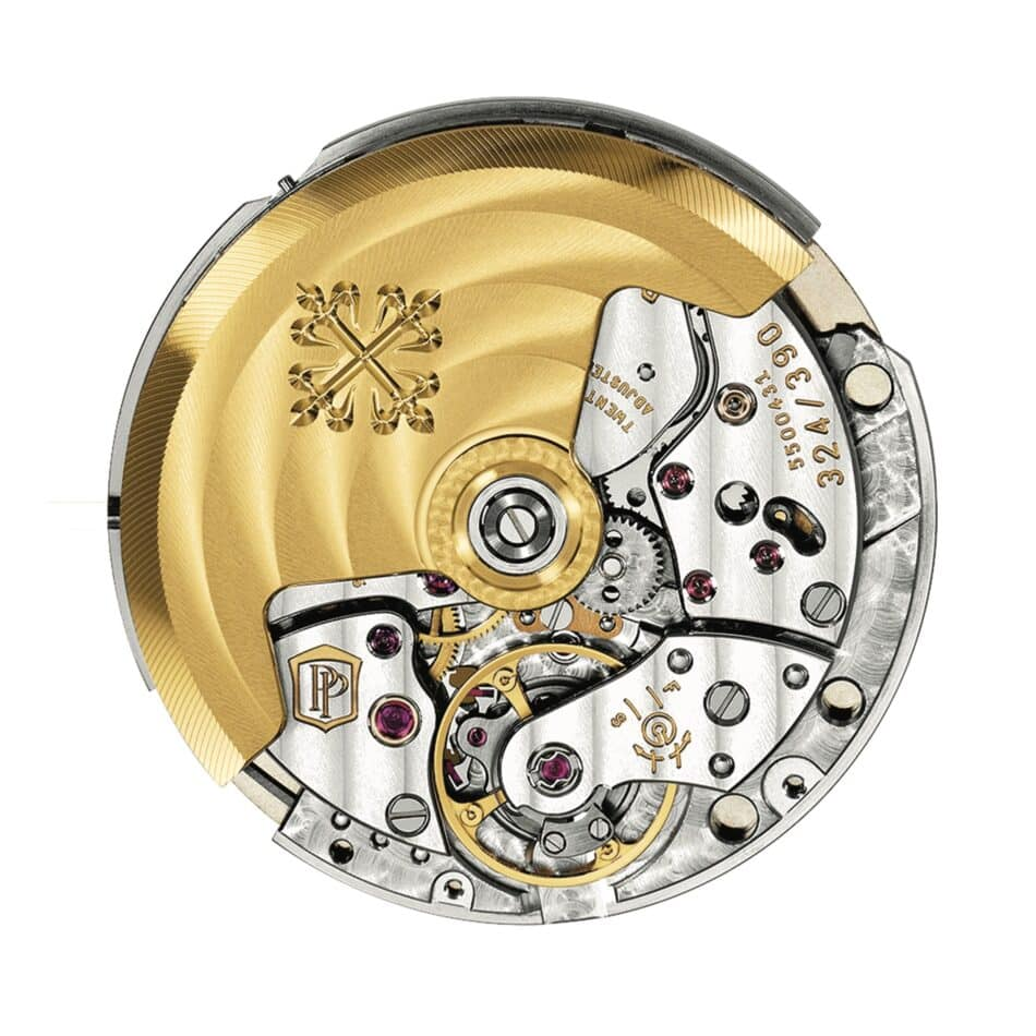 A post-2009 Patek Philippe Caliber 324 S C exhibits the double P of the Patek Philippe Seal