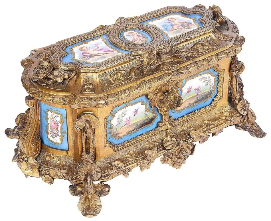 French Sevres Style Porcelain and Ormolu Casket