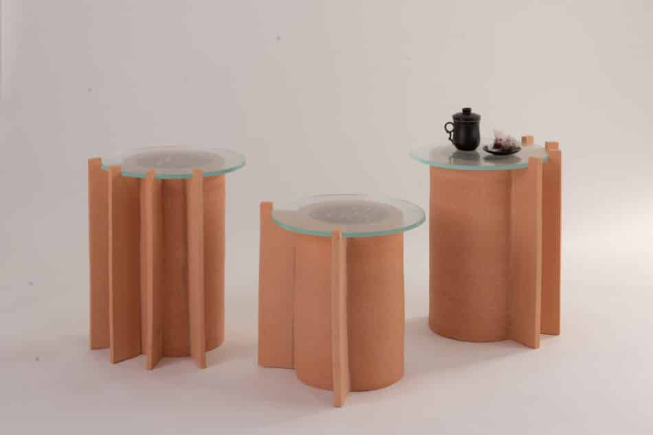 Three Peca Impronta Terracotta Side Tables