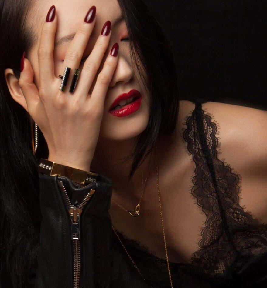 Model wearing Angie Marei jewelry