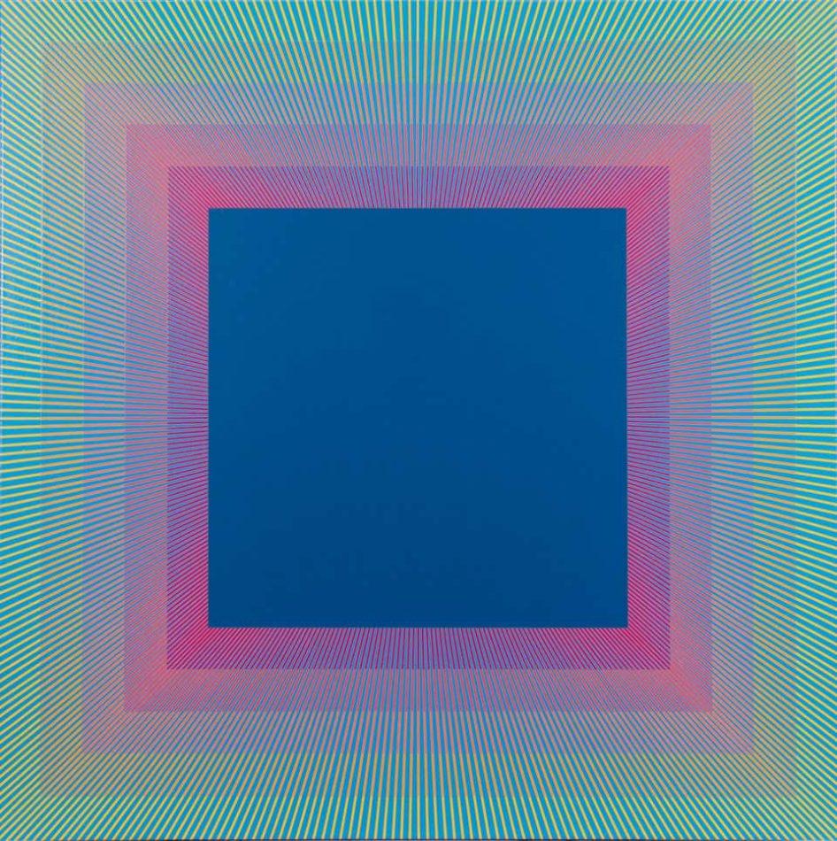 Rainbow Squared Blue, 2019, by Richard Anuszkiewicz