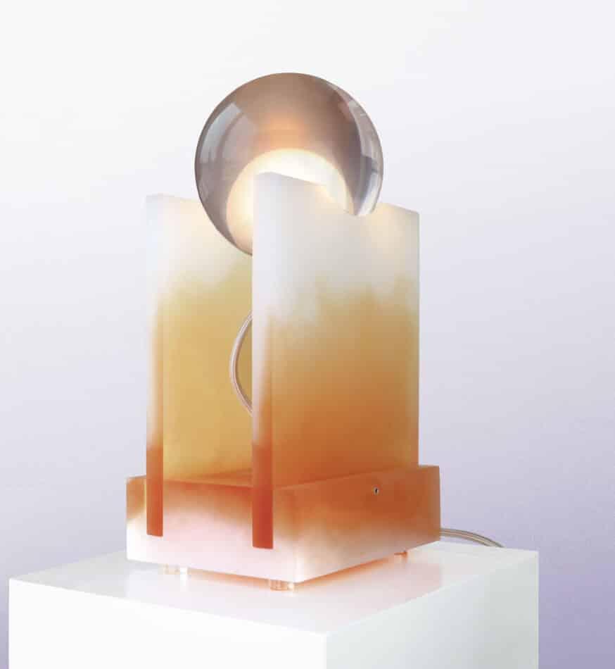 Adrian Cruz Rotonda Lamp in sand and orange, made of resin