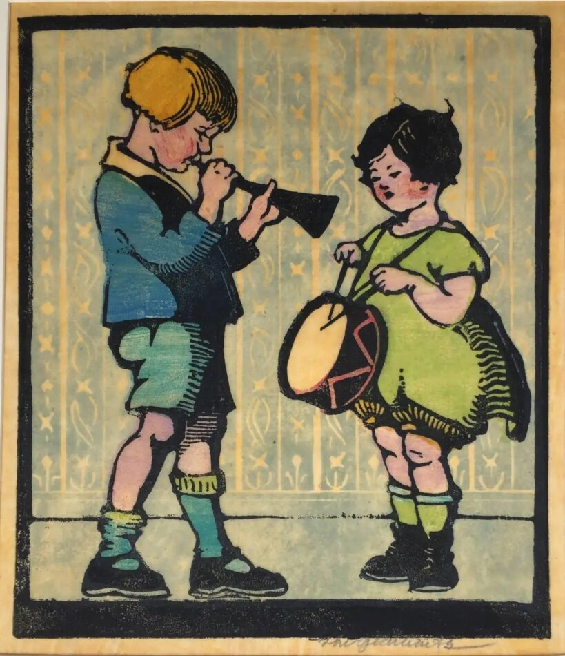 Duet, 1928, by Frances H. Gearhart, offered by Roger Genser/The Prints & The Pauper