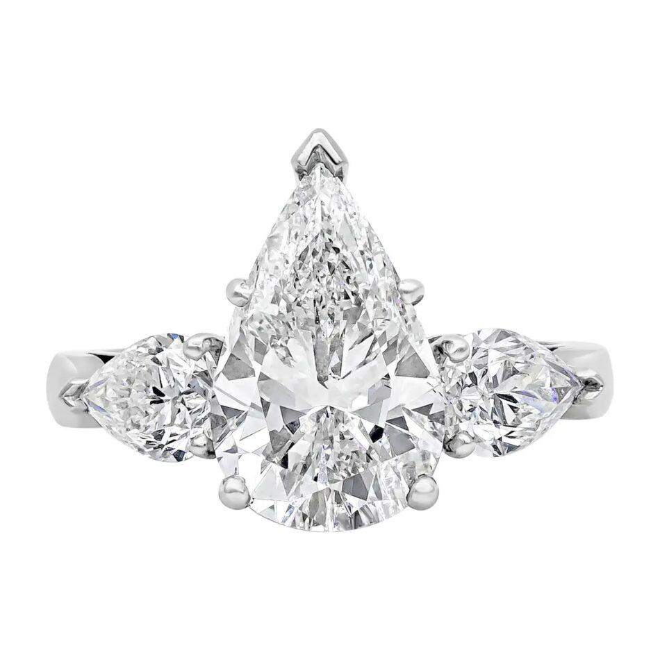 Roman Malakov Diamonds three-stone diamond engagement ring, 2019
