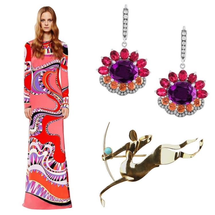 Emilio Pucci gown, Bella Campbell earrings, Trabert & Hoeffer Mauboussin centaur brooch