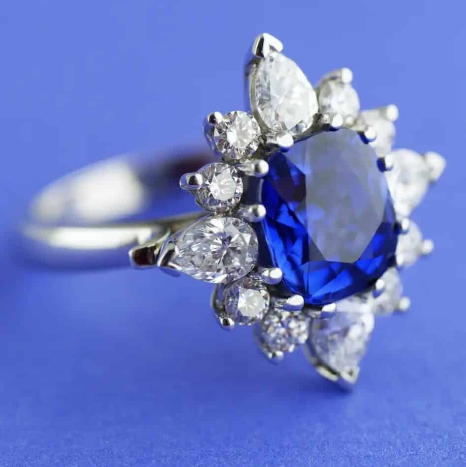 Sapphire and diamond ring, ca. 1960, offered by Kleanthous