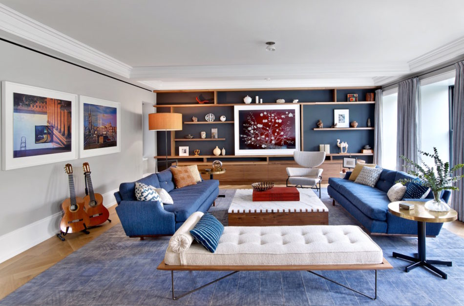 blue and white living room by 2Michaels