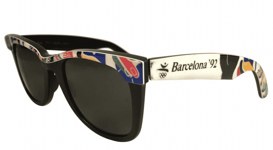 Ray Ban Wayfarer style sunglasses with decorated sides depicting the Barcelona '92 Olympic logo
