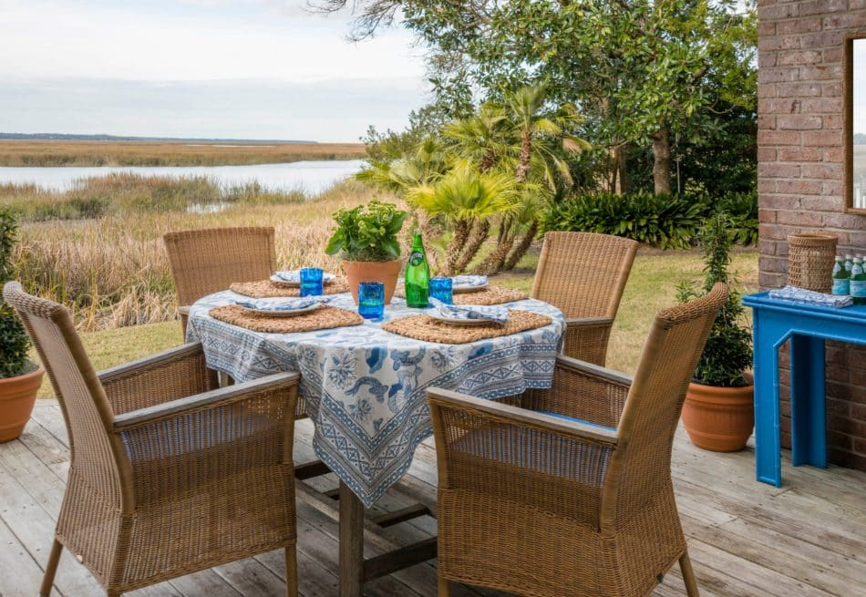 Sea Island outdoor dining area by Meg Braff