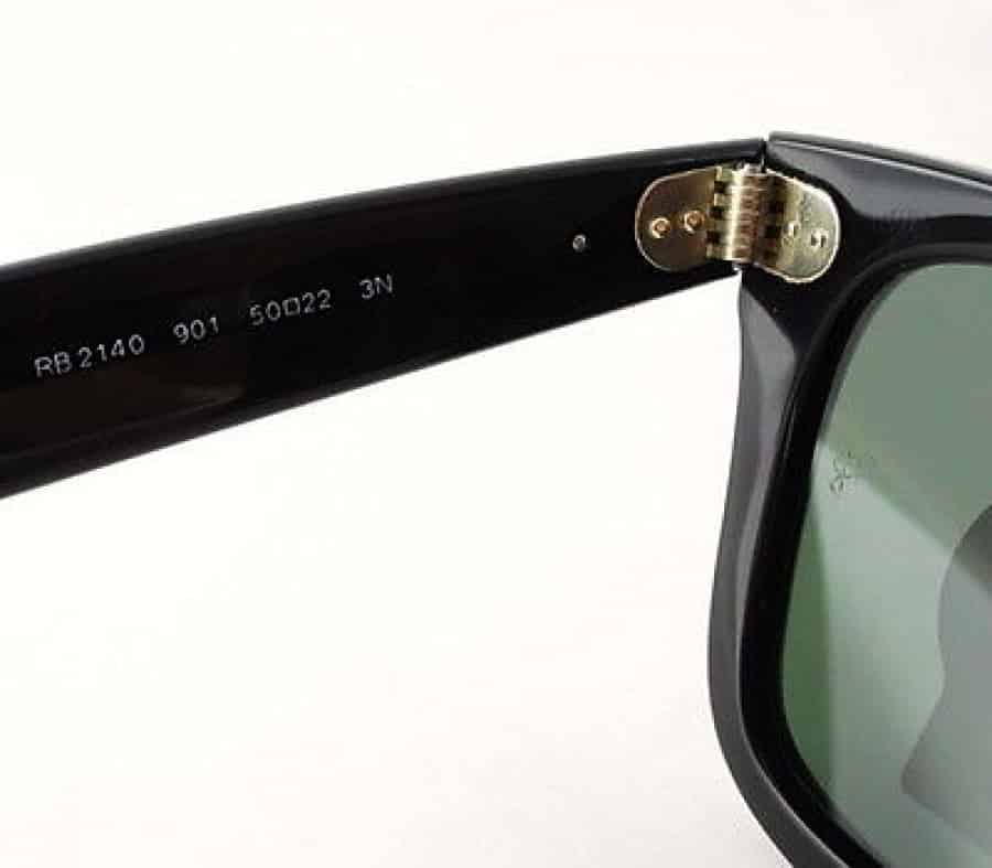 The serial number on a pair of Ray-Ban Wayfarer sunglasses