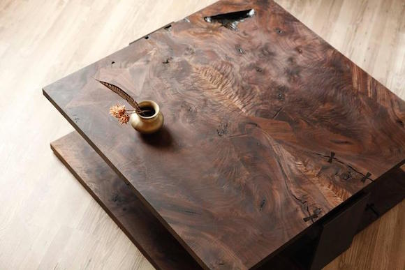 Studio Roeper's Shadow coffee table in smoked walnut and blackened steel
