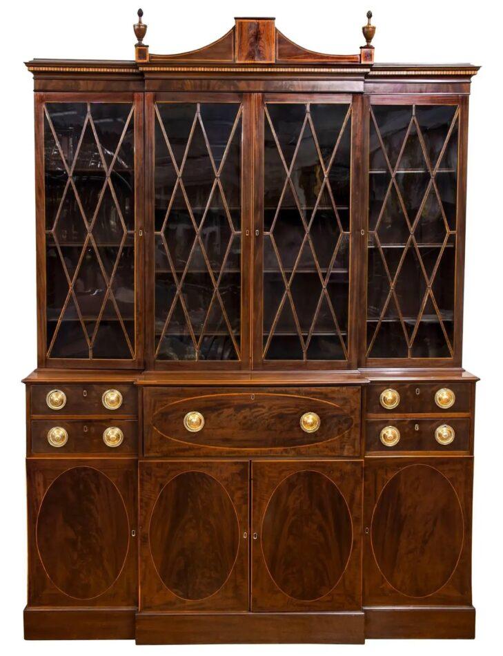 Federal-style mahogany breakfront secretary, ca. 1800