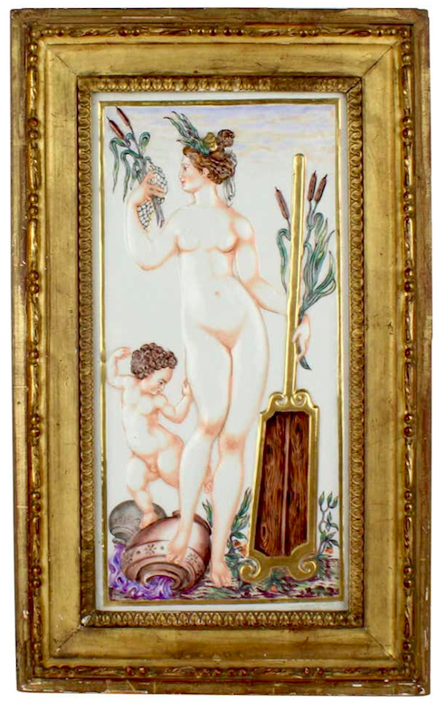 Capodimonte porcelain plaque of water nymph, late 19th century