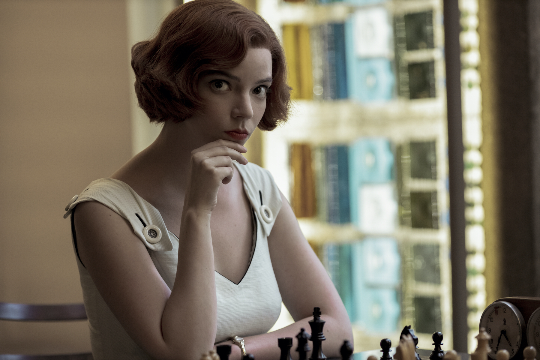 Fashion-forward chess queen Beth Harmon (played by Anya Taylor-Joy) in The Queen's Gambit