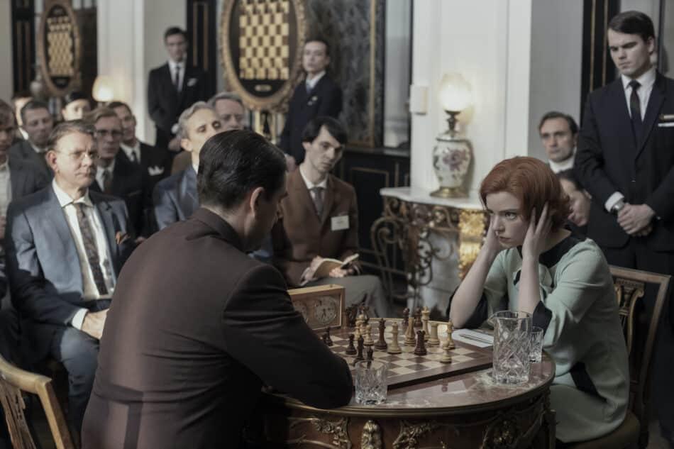 "A tense match with chessmaster Vasiliy Borgov (played by Marcin Dorocinski), whom Harmon dubbed ""The Russian."""