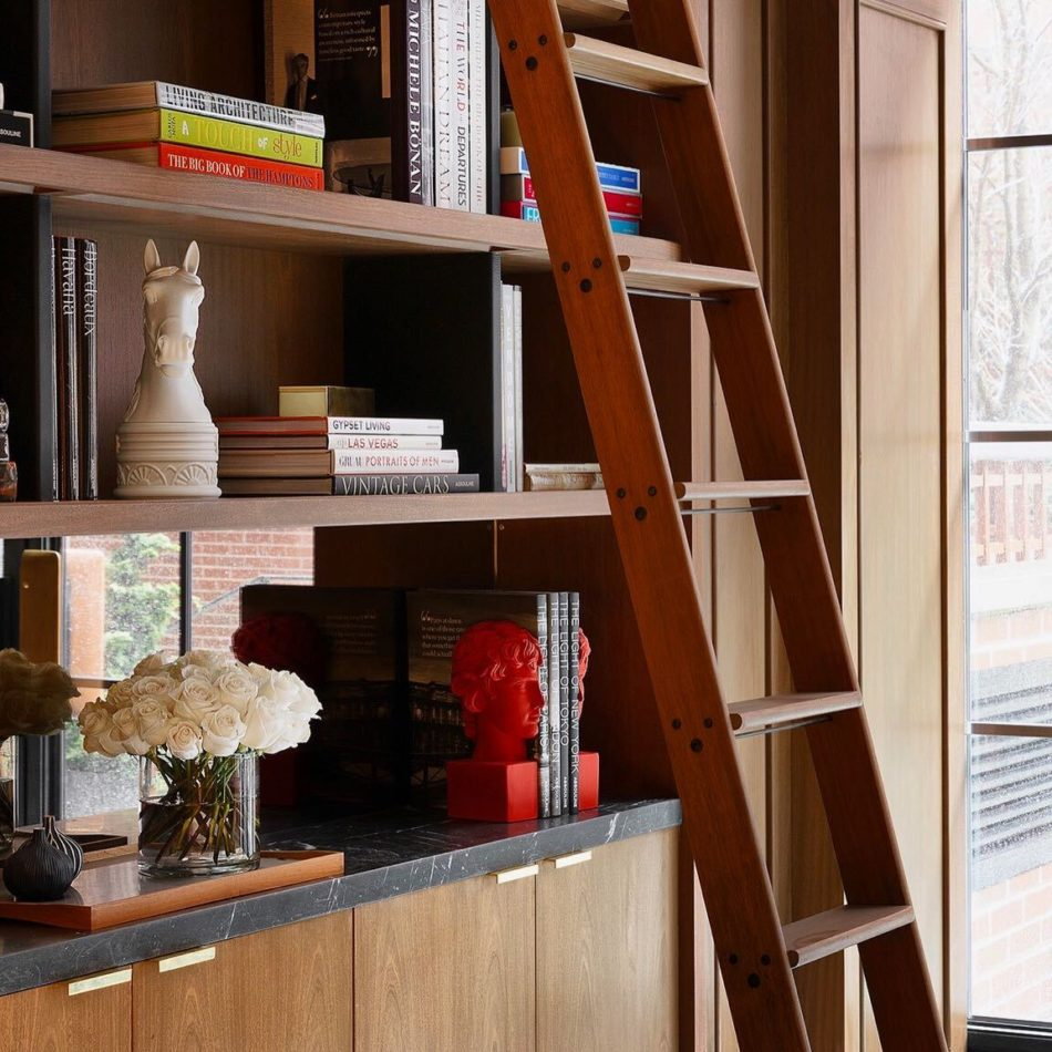 Bookshelves at the Shepherd, a residential building in New York
