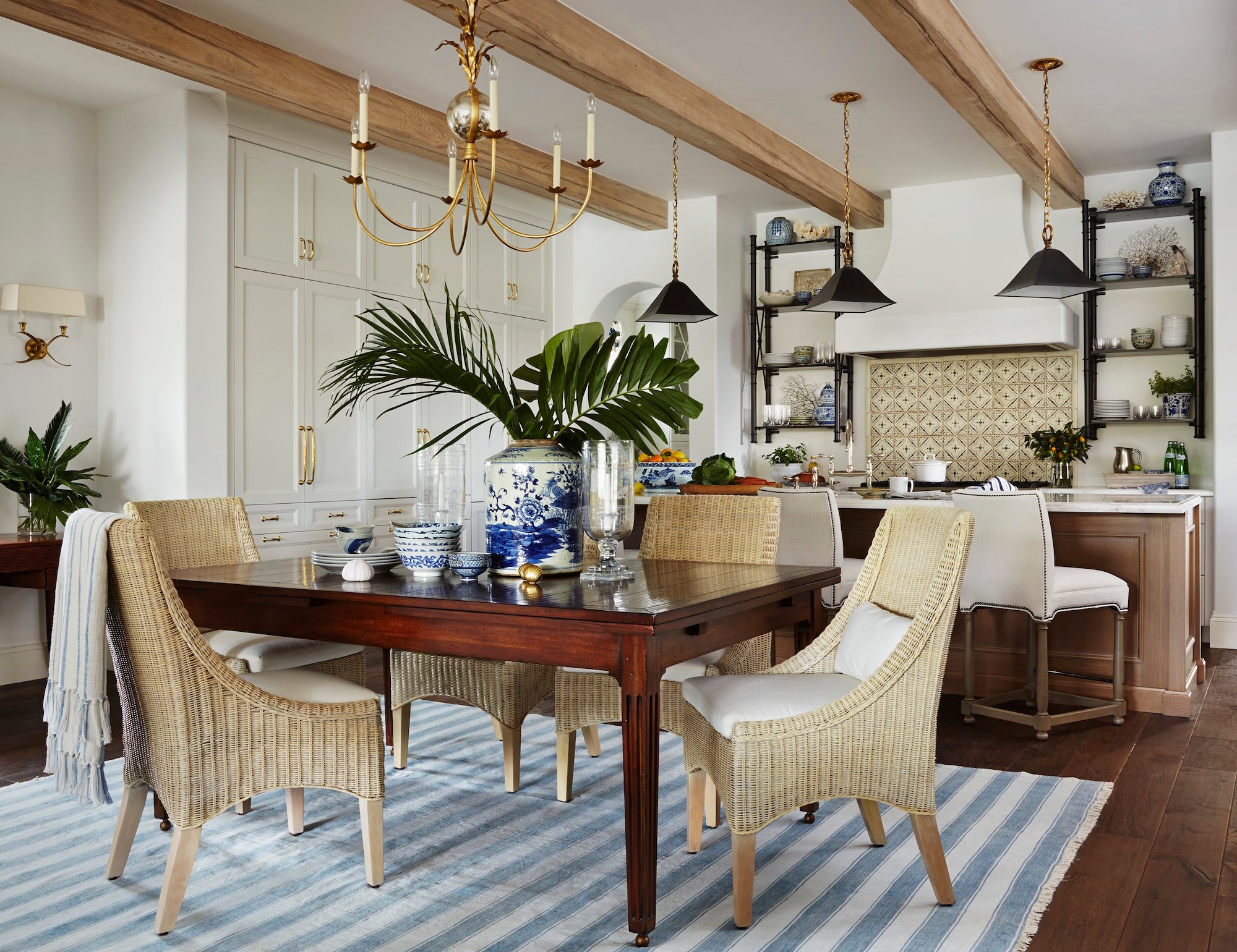 blue and white kitchen by Summer Thornton