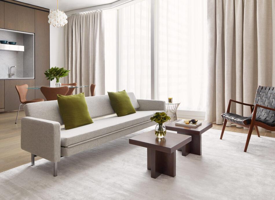 Living room of a New York pied-a-terre designed by Frederick Tang Architecture.