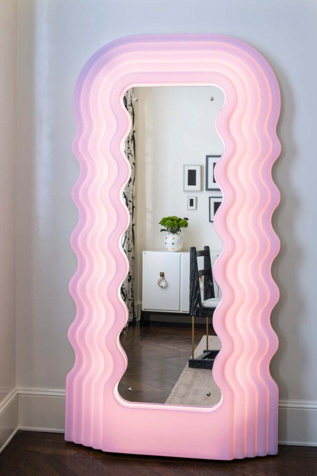 Ettore Sottsass Ultrafragola mirror in a Park Avenue apartment designed by Melanie Morris.