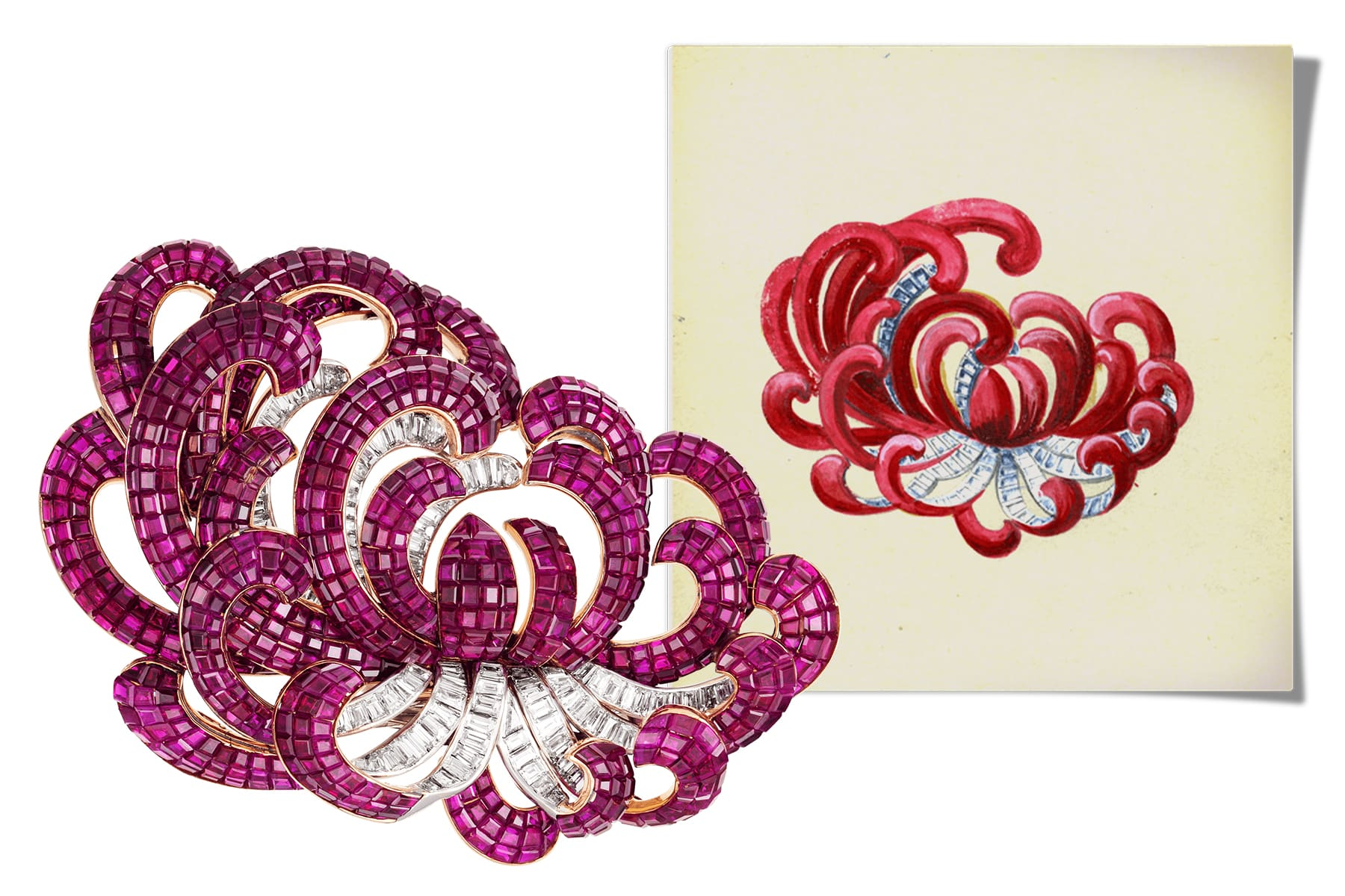 This Van Cleef & Arpels Mystery Set chrysanthemum brooch, shown with a sketch for its design, was made by the house in 1937.