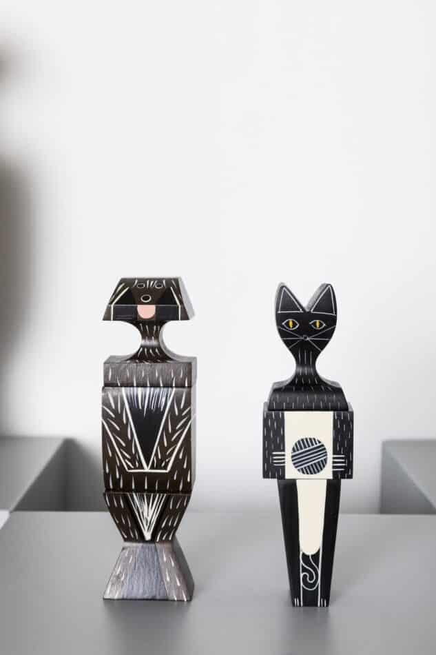 Dog and Cat wooden dolls in the Vitra Spring/Summer 2019 Girard Collection popup at The 1stdibs Gallery in New York