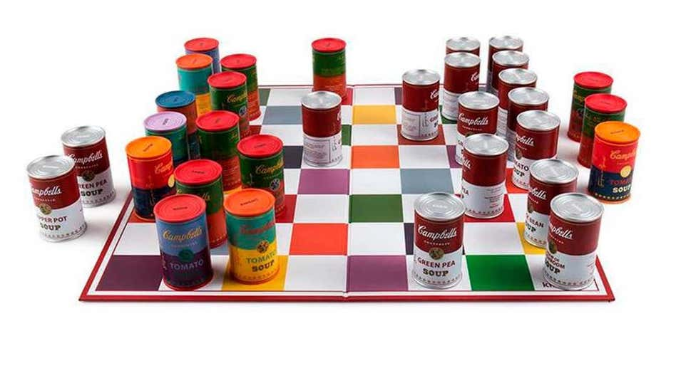 Andy Warhol-inspired Campbell's soup can chess set