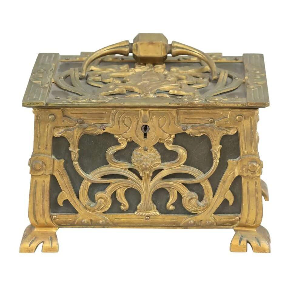 Antique Gilt Bronze Art Nouveau French Jewelry Box