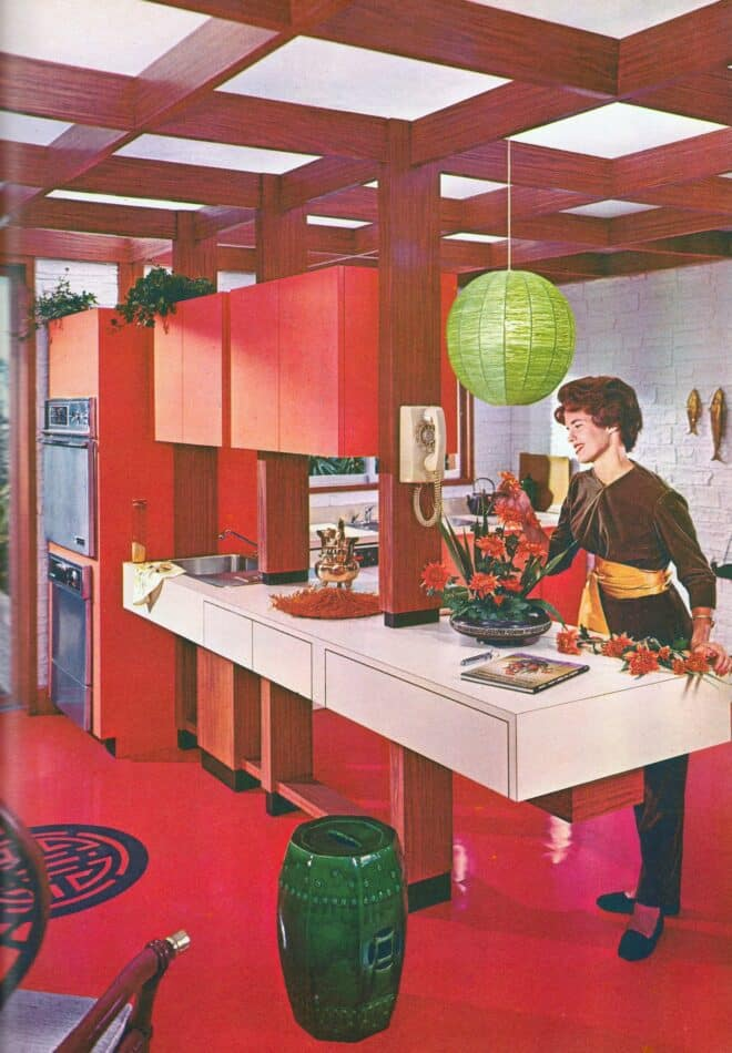 An Asian-themed kitchen in the Formica World's Fair House catalogue, 1964.