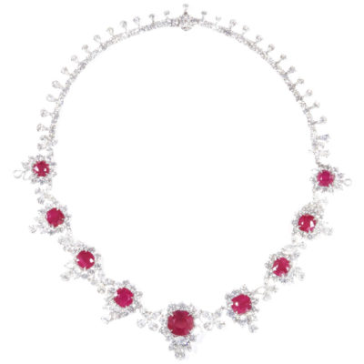 A diamond and ruby necklace, totaling over 36 carats. Offered by Diamond Scene.