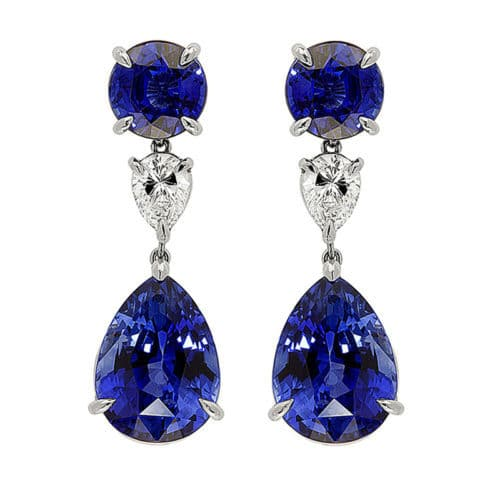 17.22-carat Ceylon sapphire and diamond drop earrings. Offered by Shreve, Crump & Low.