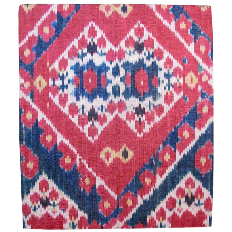 Fragment of an Uzbek Ikat silk rug, late 19th century,