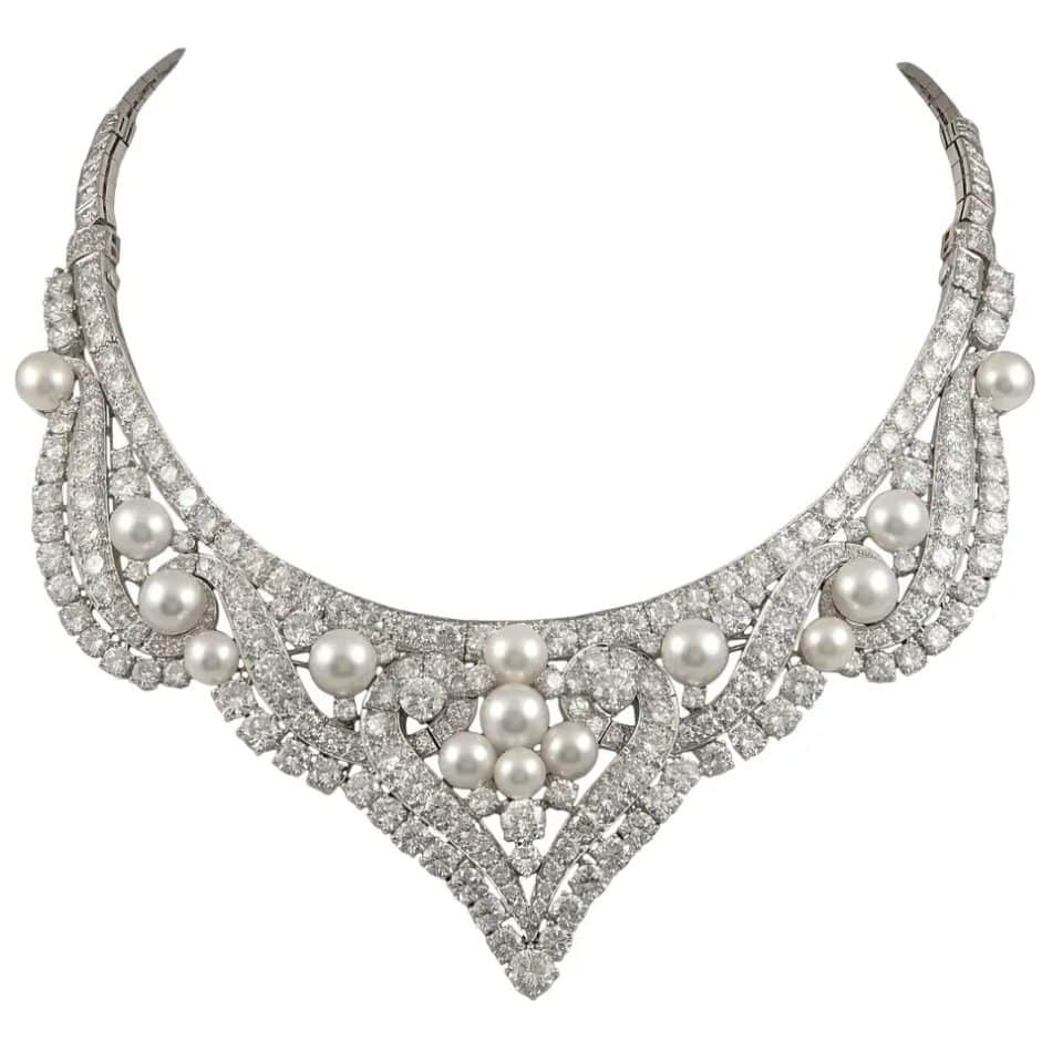 David Webb diamond and pearl necklace/tiara, 1960s, offered by Yafa Signed Jewels/Maurice Moradof