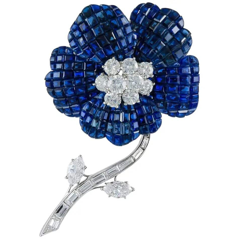 Van Cleef & Arpels diamond and Mystery Set sapphire brooch, 1970s, offered by Yafa Signed Jewels/Maurice Moradof